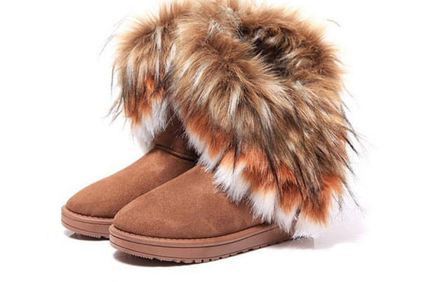 Fashion Fox Fur Warm Autumn Winter Wedges Snow Women Boots Shoes GenuineI Mitation Lady Short Boots Casual Long Snow Shoes size 36-40