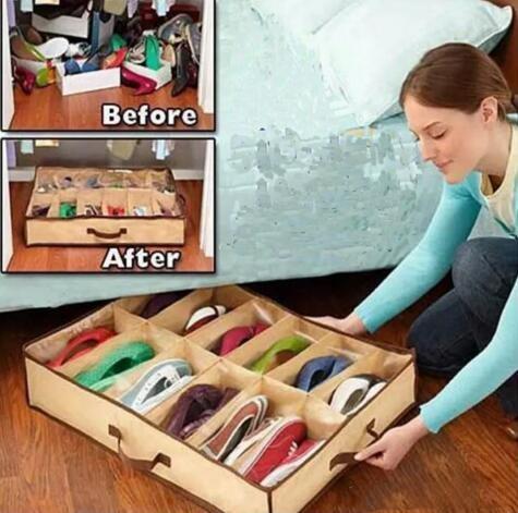 12 Pairs Bez Kumaş Ayakkabı Depolama Organizatör Tutucu Ayakkabı Organizatör Kutuları Dolap 67 * 56 * 15 cm Ev Için Kullanabilir Hottel nt