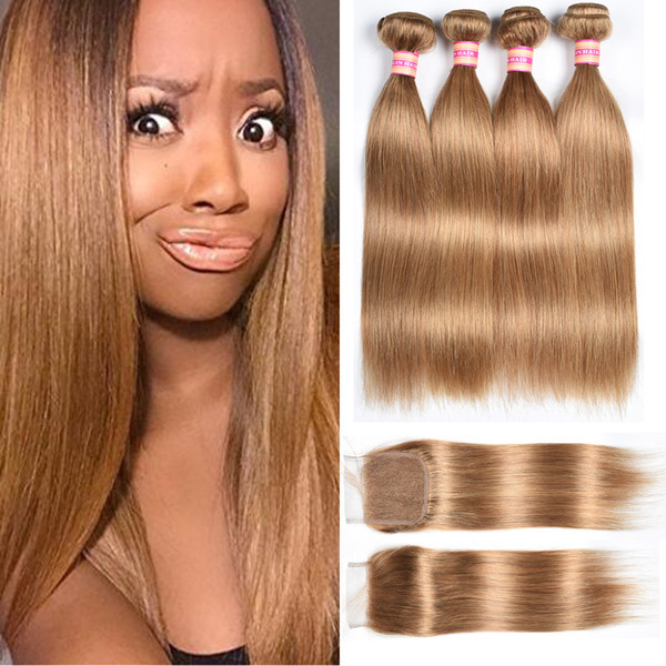 Cheap Indian Human Hair Bundles With Closure Blonde Color 27# Cheap Price Indian Straight Virgin Hair Wefts With 4x4 Top Lace Closure