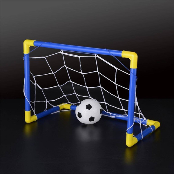 top popular free shipping Folding Mini Football Soccer Ball Goal Post Net Set+Pump Kids Sport Indoor Home Outdoor Game Toy Child Birthday Gift Plastic 2020