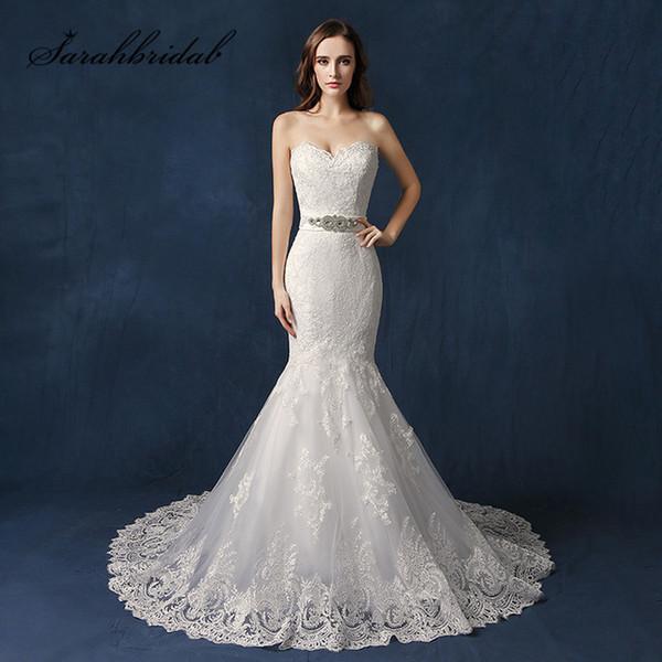 Imagen real Sexy Backless Sirena vestidos de novia 2019 encaje cariño moldeado cristales cristales botones de nuevo en stock vestidos de novia largos SW088