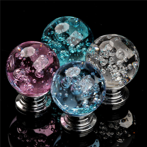 best selling 5PCS 20mm Crystal Glass Cabinet Knobs Handle Bubble Ball Alloy Cupboard Pulls Drawer Handles Kitchen Furniture Handle Hardware