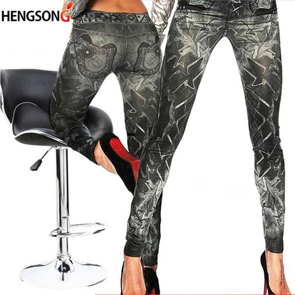 Neue Frauen Denim Leggings Schlank Falsche Nachahmung Jeans Fitness Leggins Neun Hosen Leggings Schwarz Eine Größe