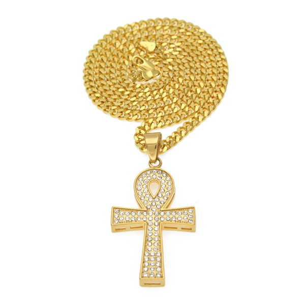 Hip Hop Men Jewelry Stainless Steel Gold-Color Life Key Ankh Egypt Diamond Cross Chain Male Pendant Necklace