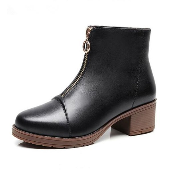 Hot Selling 2018 New Autumn and Winter Boots Women Fashion Genuine Leather Shoes Woman Martin Boots Large Size Non-slip Comfort Women Boots