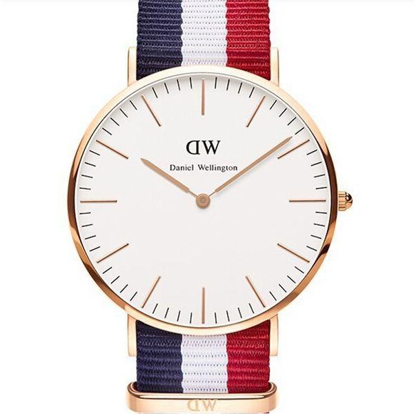 Novo Masculino Relógio de Quartzo Fino Nylon Assistir Cor da Faixa Simples Sapphire Vidro Vestido Homens Amantes Marcas Femininas Relógio de Ouro relógios de Pulso