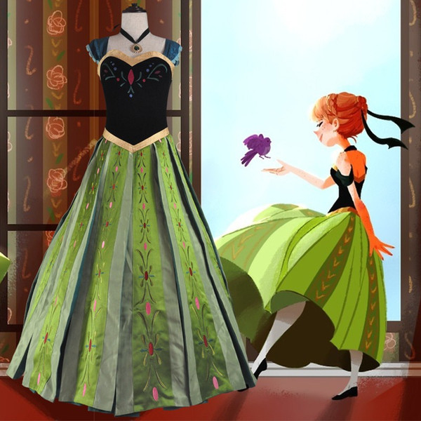 Película Cosplay Traje de Halloween Princesa Anna Coronación Cosplay Adulto Película Party Fancy Dress CS1212000