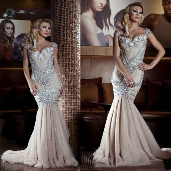 Sparkly Mermaid Prom Dresses Champagne Long With Silver Sequins Beaded Glitter Pageant Dress Tulle Skirt Evening Gowns robe de soiree 2019