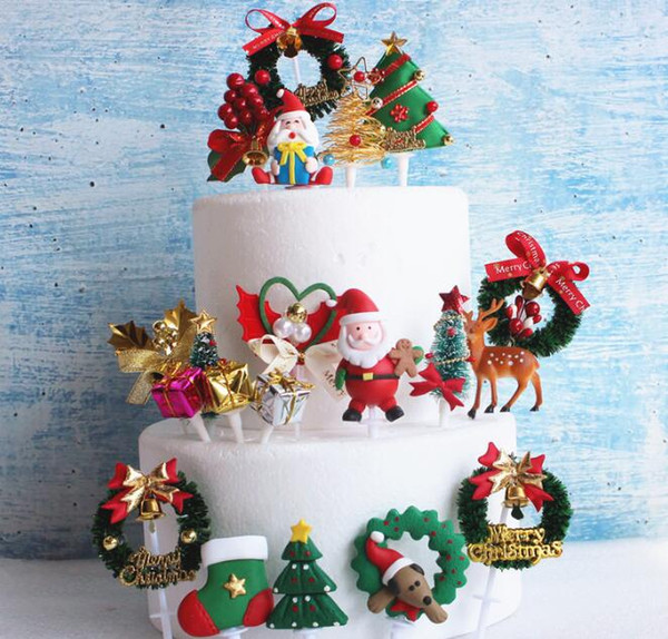 Christmas Cake Decorations.2019 3d Christmas Cake Topper Plastic Cupcake Topper Cake Decoration Merry Christmas Xmas Garland Gift Bell Pattern From Cosmose 50 26 Dhgate Com