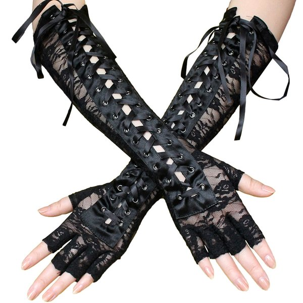 Women's Sexy Elbow Length Fingerless Lace Up Arm Warmer Black Long Sheer Lace Gloves Studed Punk Half Finger Night Club Outfit