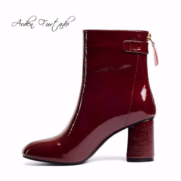Arden Furtado 2018 autumn ankle boots back zipper genuine patent leather fashion boots for woman burgundy square toe high heel