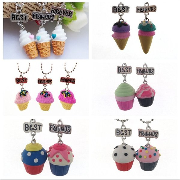 3PCS/Set Kids Friendship Ice Cream Stereo Imitation BFF Necklace For Children Best Friends Forever Jewelry