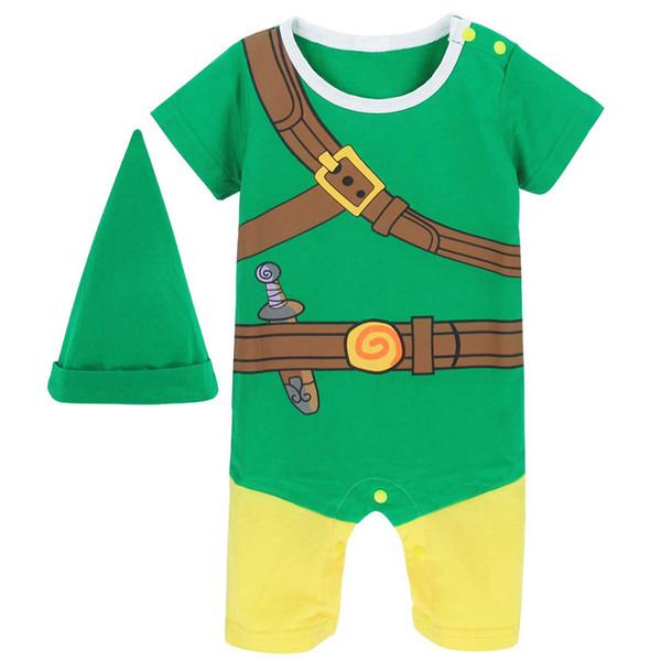 Baby Boys Zelda Link Costume pagliaccetto infantile Cosplay Tute Tutina neonato Helloween Costume per ragazzo vestiti estivi
