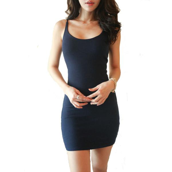 top popular Fashion Sexy Women Stretchy Camisole Spaghetti Strap Long Tank Top Slip Mini Dress Ladies Office Dresses 2020