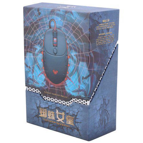 EastVita Aula Spider Queen 800-1200-1600 -2000 Viergang DPI Red Hintergrundbeleuchtung Bequeme Ergonomic Design Spiel Mäuse Schwarz