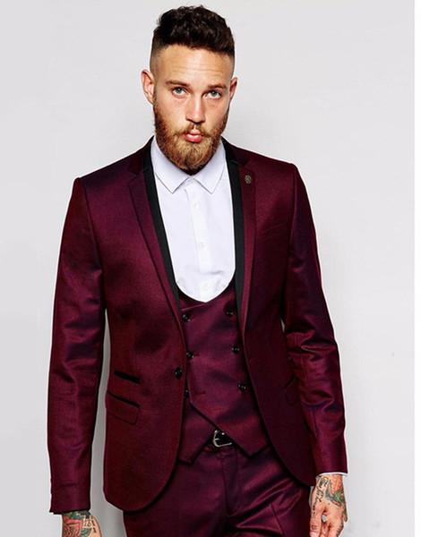 Three Pieces Cheap Burgundy Groomsmen Suits Notch Lapel Groom Tuxedos Men Wedding Suits Cusotm Made Prom Party Suit (Jacket+Pants+Vest)