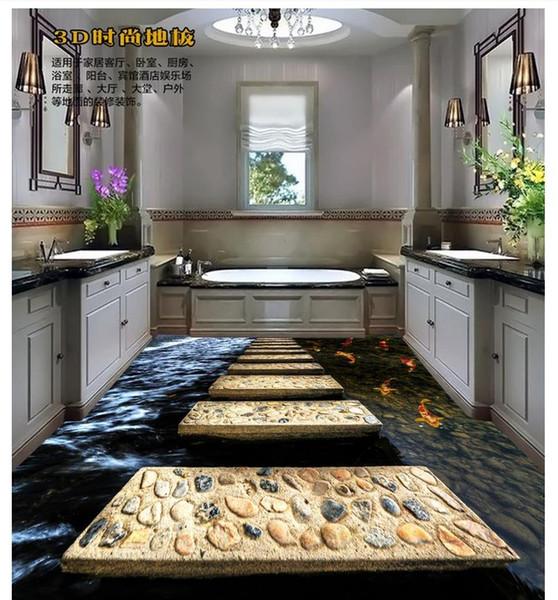 Großhandel Großhandels Kundenspezifisches Foto Boden Tapete 3D Verputzte  Stein Wohnzimmer Badezimmer Boden PVC Selbstklebende Fußboden Wandgemälde  ...