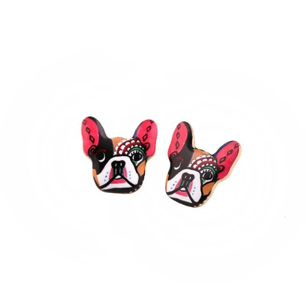 Fashion Vintage Oil Animal French Bulldog Earrings for Women Cute Puppy Dog Stud Earrings boucle d'oreille femme NY-006