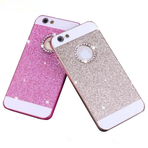 200pcs Glitter case for apple iphone 6 4.7 luxury waterproof phone mobile accessories pink Diamond cases i by PC flash powder Acrylic