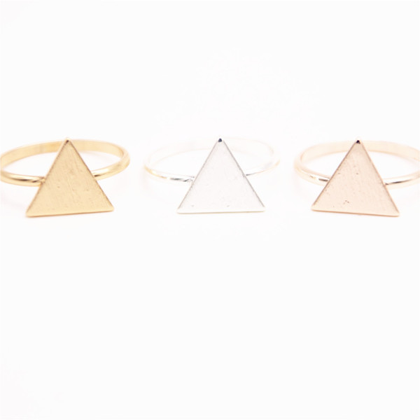 wholesale rings for girls 10 pce/lot mix color Fashion Triangle plate stud earrings Gold-color/silver plated/rose Gold-color stud earrings w
