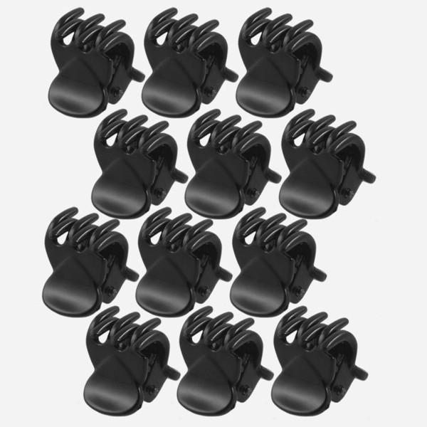 12 unids / set Moda Mujeres cangrejo Pinza de Pelo Niñas Plástico Negro Mini Garras Garra Clip de Pelo Pinza Para Las Mujeres regalos