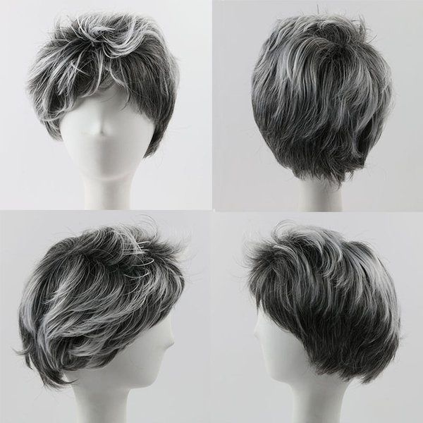 Short Grey Synthetic Hair Wavy Wigs For Black