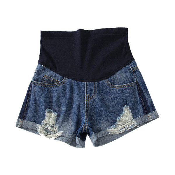 Roll Hem Ripped Hole Washed Denim Maternity Shorts Summer Fashion Belly Short Jeans for Pregnant Women Thin Pregnancy Hot