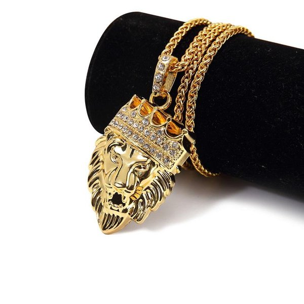 2018 New Arrival Men Hip Hop Iced Out Gold Fashion Jewelry Bling Crystal Lion Head Pendant Necklace Gold Filled For Gift Present