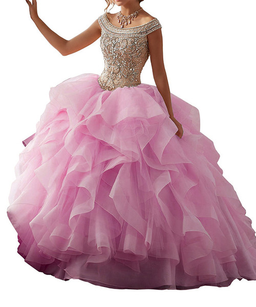 The new pink tutu adult Quinceanera Dresses size can be customized back strap collar wrapped in gauze dress bag mail leaf shoulder charge