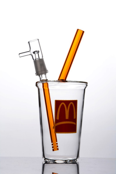 Clear Starbucks Cup Bong Small Glass Bong Oil Rig Dab Cup Thick Glass Bongs with Nail
