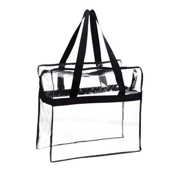 La bolsa de asas de la moda, tapa robusta de la construcción del PVC Stipper, bolso claro del claro del gimnasio del viaje de la seguridad del estadio, perfecto para el trabajo, escuela, Spor