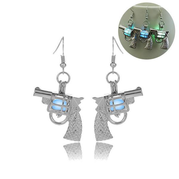 luminous bead gun earring hollow locket gun stud Dangle & Chandelier Halloween lucky glow in the dark earrings for women