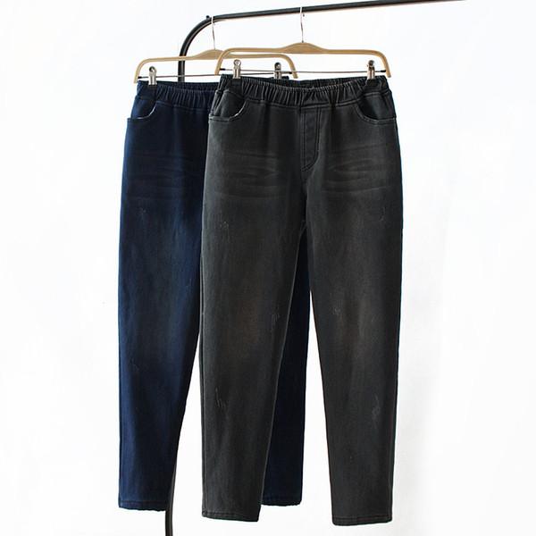 E21 Winter Casual Jeans 4XL Plus Size Women Clothing Fashion Elastic waist Lining velvet warm Stretch Denim Pencil Pants K646