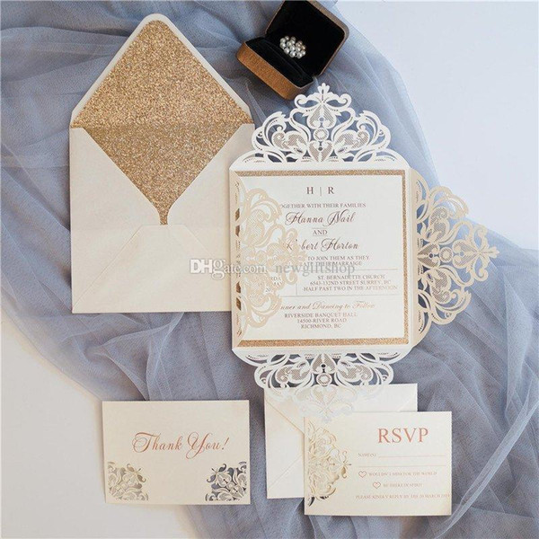 Luxury Glittery Wedding Invites Ivory Shimmy Die Cut Dinner Invitation Cards Party Invitations With Rsvp Card Belly Band Small Tag Cheap Wedding