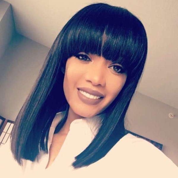 Short Human Hair Wigs Bob Style Straight Peruvian Virgin Hair For Black Women Glueless Lace Front Bob Wigs With Bangs