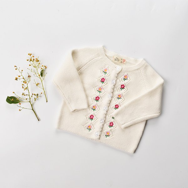 baby Cargigan INS styles new spring fall children long sleeve 100% Cotton cardigan kids girl casual cute flower design cardigan sweater coat