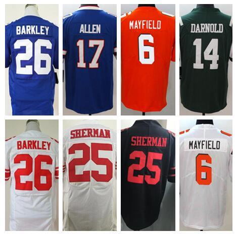 new product 3b562 b7564 2019 2018 Football Jerseys Saquon Barkley Sam Darnold Baker Mayfield Josh  Allen Jimmy Garoppolo Jersey Throwback Salute To Service Factory Cheap From  ...