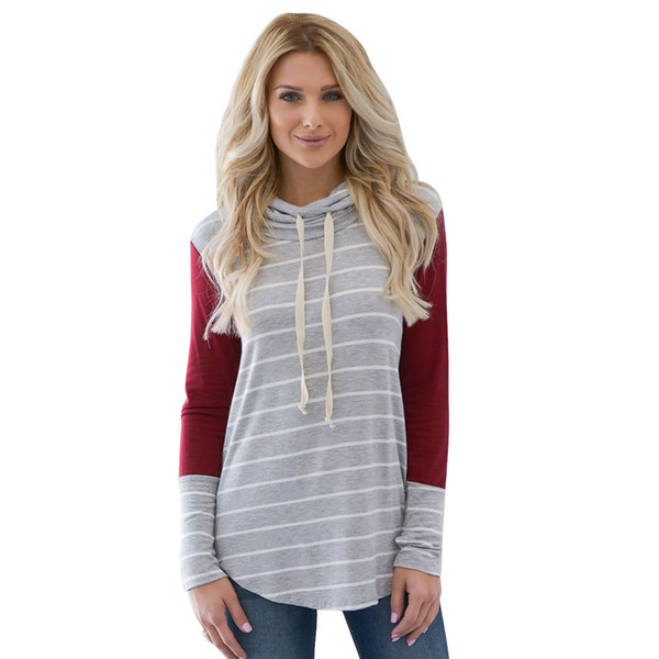 Autumn new European and American ladies sweater loose collar striped long sleeve stitching fashion small high collar pullover personality T-