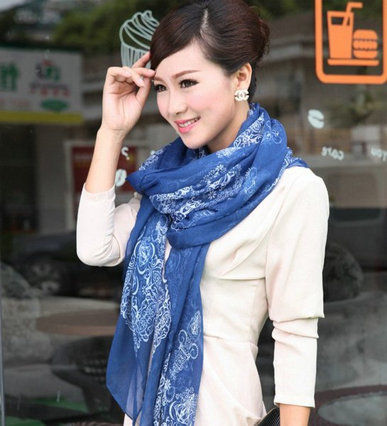 2018 China Style Cotton Chiffon Scarf Flower Bird Leopard Dot Printting Scarf for Women Blue Fashion Chiffon Long Hot Sale