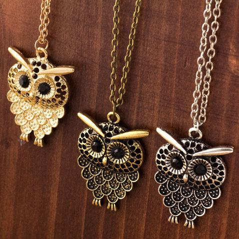3 Color Vintage Lovely Owl Pendant Necklace Long Sweater Chain Golden Antique Silver Bronze For Woman Jewelry Gift Free Shipping