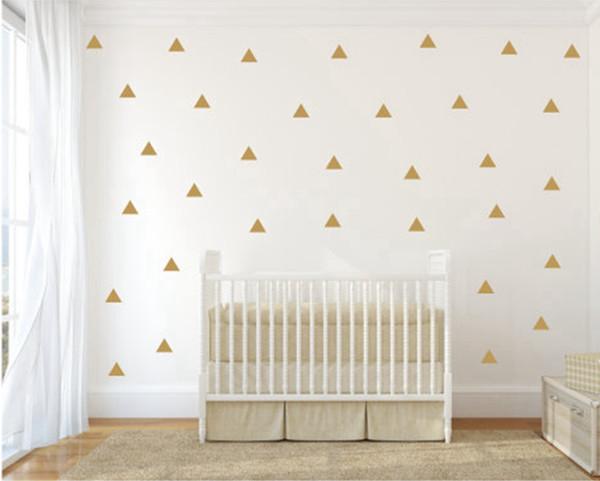 decor sticker Gold Triangle Sticker Vinyl Decals (Set of 35pcs) , Gold Geometric patterns modern nursery wall art decor