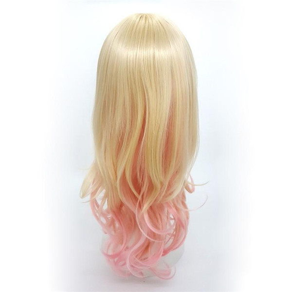 XT934 Fashion Mix color Blonde Pink Gradient De Couleur 24 inch Long Deep Curly Wigs Oblique Bang Lolita Cosplay Natural Wig Synthetic Hair