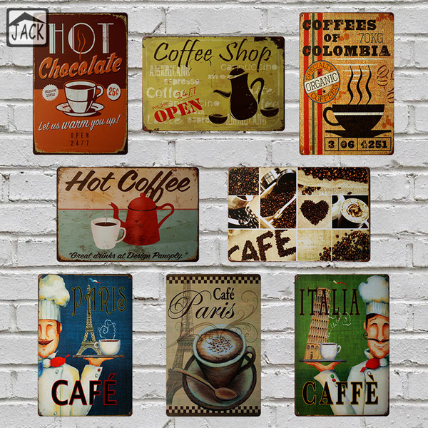 ITALIA PARIS Hot Coffe Painting 8X12inch Vintage Poster Metal Tin Signs Advertising Cafe Shop Bar Home Kitchen Wall Decor Plaque Y18102409
