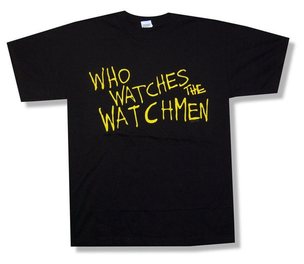 Watchmen Who Watches Text image Black T Shirt Nueva película cómica oficial