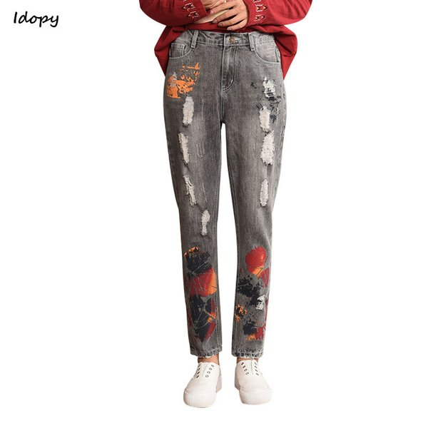 Idopy Women`s Harem Jeans Loose Fit Stretchy Waist Ripped Distressed Painting Ethnic Denim Pants For Girls Plus Size L-5XL