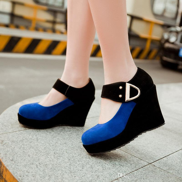 wholesaler free shipping factory price classic fashion wedge heel round nose fashion women lady patchwork Buckle shoe166