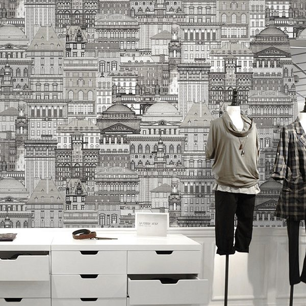 Modern Black White Blue Sketch Achitecture Wall Papers Home Decor Castle City Wall Paper Roll for Background Room Walls vinilo pared