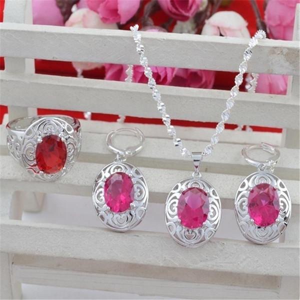 Women Jewelry Set Oval Cut Red Rhinestone Hollow Flower Design Silver Color Necklca+Earring+Ring