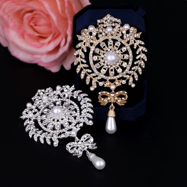 baiduqiandu Large Size Silver / Gold Color Plated Clear Crystal Rhinestones Bow Drop Brooch Pins Jewelry Gifts for Women