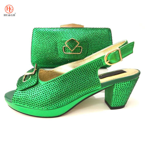 2018 New Green Color African Italian Shoes and Bag Sets Women Shoes and Bag Set In Italy Matching Shoes and Bag Set for Wedding